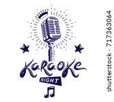 karaoke night and nightclub... | Shutterstock .eps vector #717363064