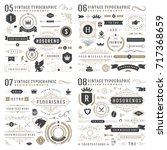 Retro vintage typographic design elements. Arrows, labels, ribbons, logos symbols, crowns, calligraphy swirls, ornaments and other. | Shutterstock vector #717368659