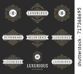 luxury logos templates set ... | Shutterstock .eps vector #717368695