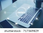 fntech icon and internet of... | Shutterstock . vector #717369829