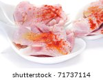 some slices of lacon, typical ham of Spain, with paprika - stock photo
