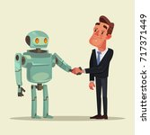 human man and robot characters... | Shutterstock .eps vector #717371449