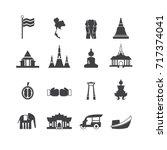 landmark of thailand line icons ...   Shutterstock .eps vector #717374041