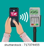 pos terminal confirms the... | Shutterstock .eps vector #717374455