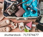 travel concept with travel bag  ... | Shutterstock . vector #717374677