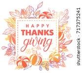 thanksgiving typography.hand... | Shutterstock .eps vector #717375241