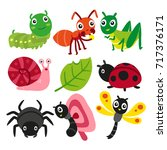 bugs collection  insect vector... | Shutterstock .eps vector #717376171