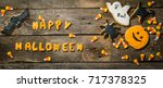 halloween concept with cookies... | Shutterstock . vector #717378325