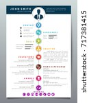 resume design template... | Shutterstock .eps vector #717381415