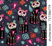 Stock vector vector seamless pattern for day of the dead and halloween cats and colorful decorative flowers 717386779