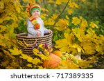 little girl in the autumn park | Shutterstock . vector #717389335