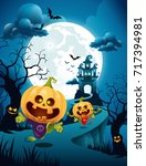 halloween pumpkin couple with... | Shutterstock .eps vector #717394981