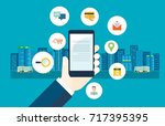 flat design use mobile business ...   Shutterstock .eps vector #717395395