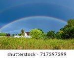 A Double Rainbow Over A Farm...