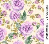 roses seamless pattern. | Shutterstock . vector #717398851