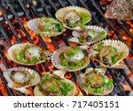 barbecue fire grill  shellfish... | Shutterstock . vector #717405151