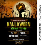 halloween party invitation or... | Shutterstock .eps vector #717408529