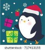 cute penguin and christmas gifts | Shutterstock .eps vector #717413155