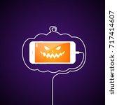 phone  wire  halloween  pumpkin ... | Shutterstock .eps vector #717414607