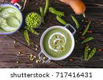 delicious puree from green peas ... | Shutterstock . vector #717416431