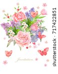 graceful greeting card with... | Shutterstock . vector #717422851