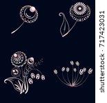 set of elements of floral...   Shutterstock .eps vector #717423031