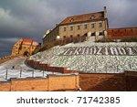 Grudziadz sign on the frosty grass - Grudziadz old town - Poland - stock photo