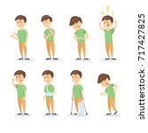 symptoms with man set on white... | Shutterstock .eps vector #717427825