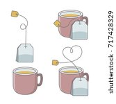 set of cup of tea with bag | Shutterstock .eps vector #717428329