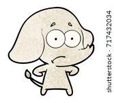 cartoon unsure elephant | Shutterstock .eps vector #717432034