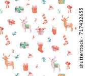 seamless pattern with presents  ... | Shutterstock .eps vector #717432655