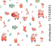 seamless pattern with santa... | Shutterstock .eps vector #717433051