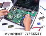 computer repair and upgrade | Shutterstock . vector #717433255