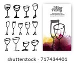 set of hand drawn drink cups.... | Shutterstock .eps vector #717434401