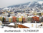 Innsbruck, Austria. Aerial view of Innsbruck, Austria during the winter morning, with snow and mountains at the background.