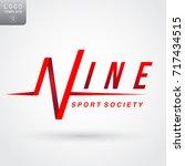 premium pulse logo in the shape ... | Shutterstock .eps vector #717434515