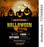 halloween party invitation with ... | Shutterstock .eps vector #717434824