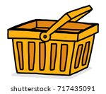 orange shopping basket  ... | Shutterstock .eps vector #717435091