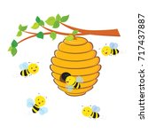 busy bees flying around a... | Shutterstock .eps vector #717437887