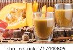 pumpkin latte or cocktail ... | Shutterstock . vector #717440809