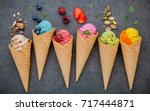 various of ice cream flavor in... | Shutterstock . vector #717444871