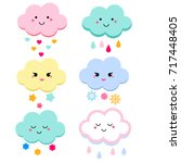 Stock vector cute clouds vector illustration for kids isolated design children stickers baby shower clouds in 717448405