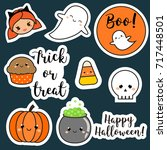 halloween stickers  patches ... | Shutterstock .eps vector #717448501