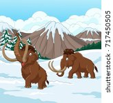 cartoon woolly mammoth walking... | Shutterstock .eps vector #717450505