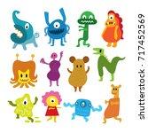 cute  monsters cartoon... | Shutterstock .eps vector #717452569