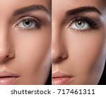 eyebrow microblading and... | Shutterstock . vector #717461311