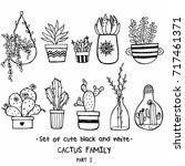 vector set of cute black and... | Shutterstock .eps vector #717461371