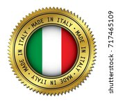 made in italy golden badge with ... | Shutterstock .eps vector #717465109