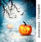 scary halloween background with ... | Shutterstock .eps vector #717466849