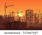 tower cranes on construction... | Shutterstock .eps vector #717467107